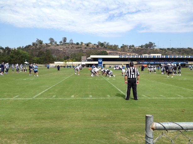 On the job at Chargers Park.